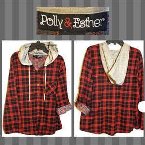 Thin Long-Sleeve Red Plaid Button-Down Hooded Top